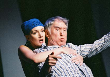 Actors Theatre, 2003, Cat on a Hot Tin Roof. Natalie Messersmith as Maggie and Benjamin Stewart as Big Daddy. (Photo Courtesy of Janet Arnold)