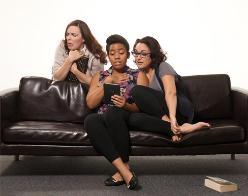 "Maren Maclean (left), Alexis Green and Angelica Howland in ""The Book Club Play."" (Photo by John Groseclose)"