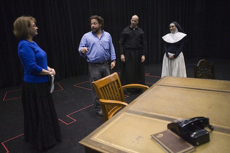 "John Patrick Shanley's ""Doubt"" opens a new season. Pictured: In the rehearsal hall with director Matthew Wiener (second from left) and actors Patti Davis Suarez (left), Rusty Ferracane and Angelica Howland. (Arizona Republic Photo)"