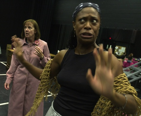 "After the previous year's success, Actors Theatre stages both parts of Tony Kushner's epic ""Angels in America."" Pictured: In the rehearsal hall with Lillie Richardson (right, as the Angel) and Cathy Dresbach (as Hannah Pitt). (Photo by Cheryl Evans, Arizona Republic)"