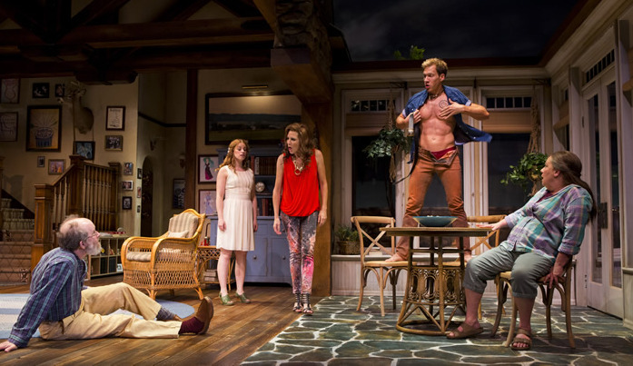 Charles Janasz, Ali Rose Dachis, Suzanne Bouchard, Joshua James Campbell and Suzanne Warmanen in Arizona Theatre Company's Vanya and Sonia and Masha and Spike. (Photo by Jeff Smith.)