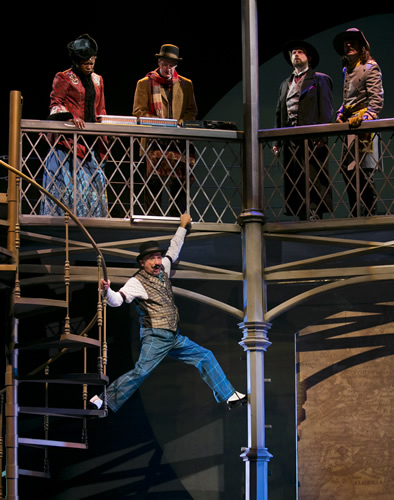 "Jon Gentry is in a precarious position in ATC's ""Around the World in 80 Days."""