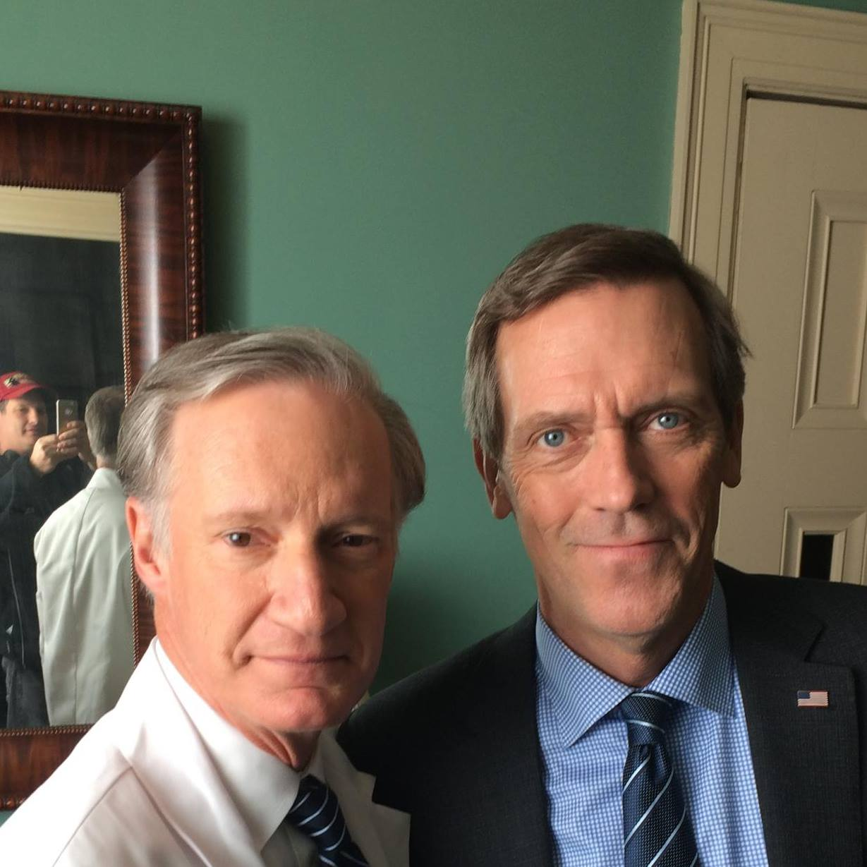 "In December, 2014, Bob worked on ""Veep,"" playing Julia Dreyfuss' White House doctor. He took a moment to pose with Hugh Laurie (""House"") on the set. (Photo from Bob's Facebook page.)"