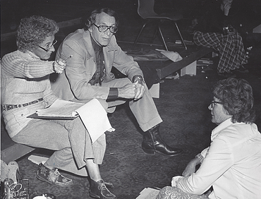 Ann and Carl Nussbaum work with an actor in an early DFT production (Circa 1975).