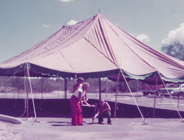 The DFT tent being set up for a production.