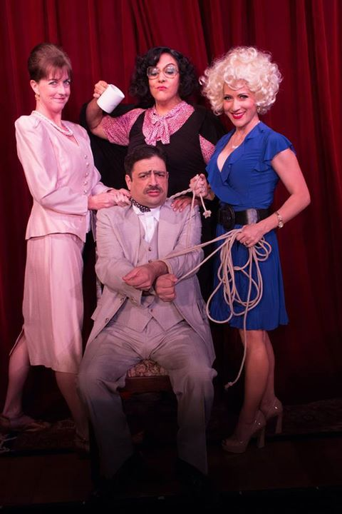 "Fountain Hills Theatre, ""Nine to Five: The Musical, "" May 16-June 8, 2014. Director: Dale Nakagawa. Cast: Amy Powers as Judy Bernley (left) DeAnna Zaccaria as Violet Newstead (center), Kim Cooper-Schmidt as Doralee Rhodes and Scott Hyder as Franklin Hart Jr.,"