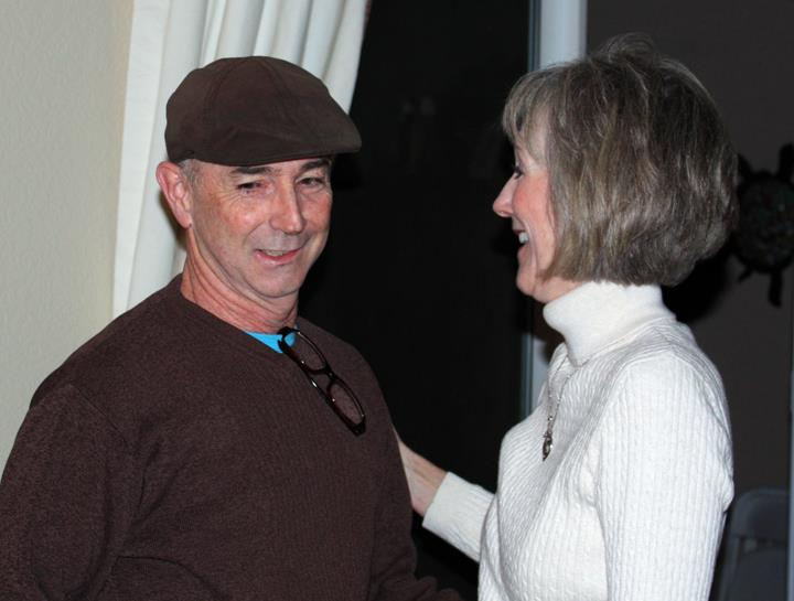 Jon Gentry and Linda DeArmond Grady at playwright Michael Grady's surprise 50th birthday party. (Photo by Brenda Edwards)