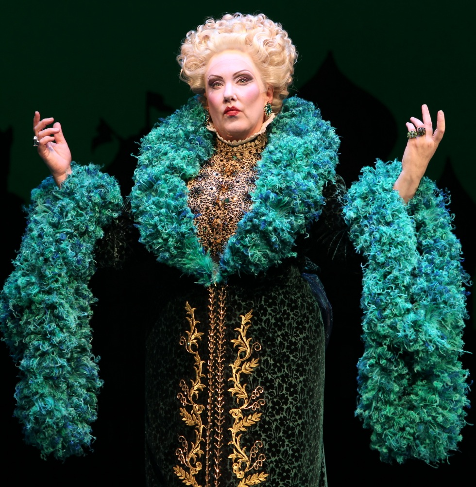 "Kathy Fitzgerald as Madame Morrible in Broadway's ""Wicked."""