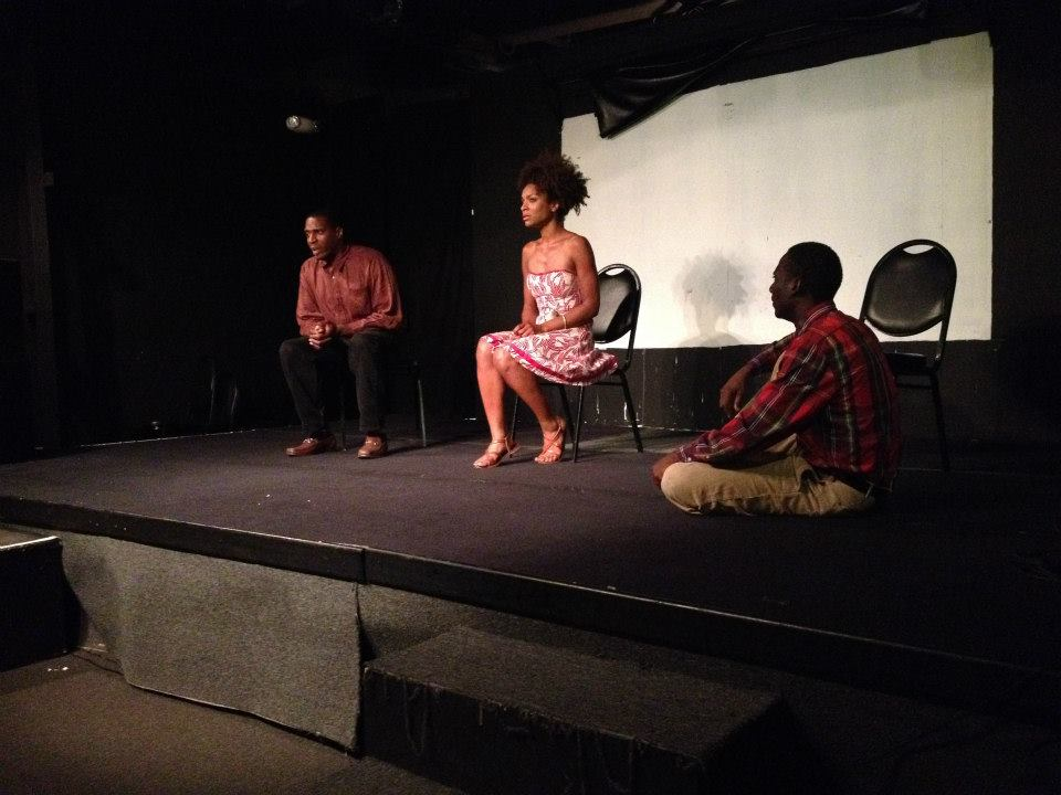 "Eric Banks, Nicole Belit and Billy Ramsey perform ""Lost Boys Found,"" June, 2014. Photo courtesy of James Garcia, who directed."