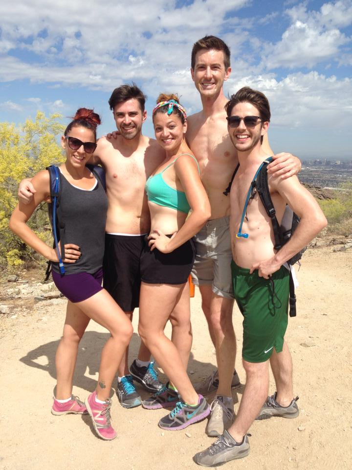 South Mountain Hike with Leading Men & Women of Valley Theater, April 2014, Pictured: Lynzee Paul Foreman, Aya Nameth, Todd Hulet, Toby Yatso and Chad McCluskey.