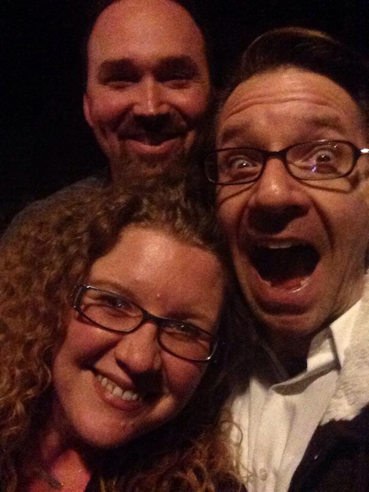 Nykol DeDreu and her husband Michael Sherwin entertain Joseph Kremer (back) during his visit to Chicago. (Selfie organized by NyKol.)