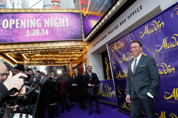 "On one of his rare breaks from performing, Patrick attends the opening night of ""Aladdin"" on Broadway."