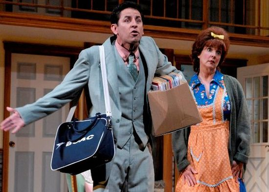 "Christopher Williams and Cathy Dresbach in Phoenix Theatre's 2010 production of ""Noises Off."" (Photo by Laura Durant)"