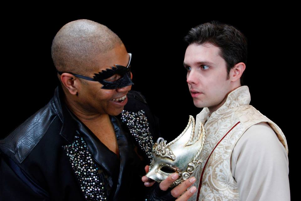 "Paul Oakley Stovall is the Leading Player and Anthony Johnson is the title character in Phoenix Theatre's 2014 production of ""Pippin."" (Photograph by Sara Chambers.)"