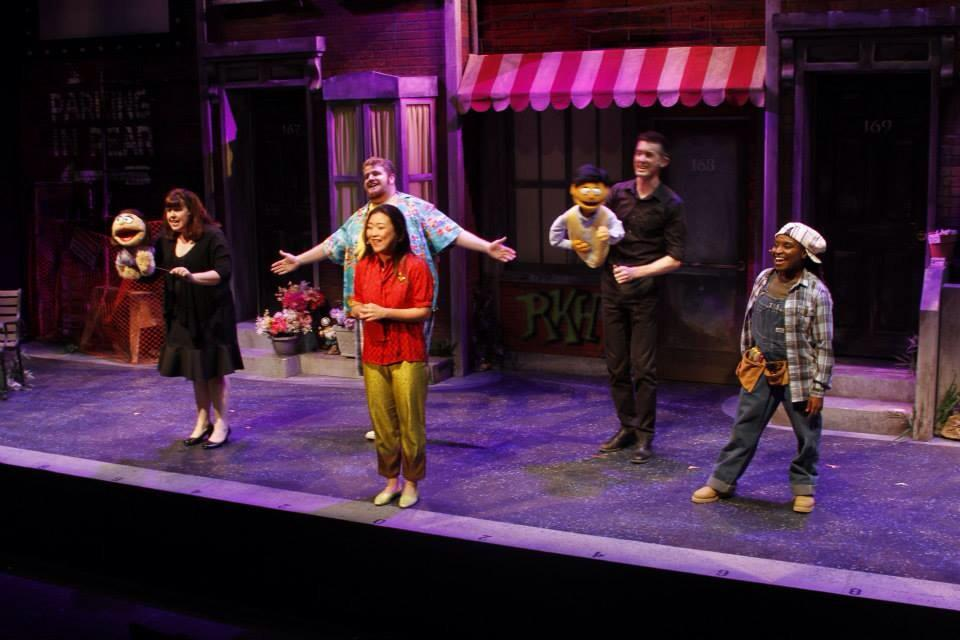 "The cast of Phoenix Theatre's 2014 revival of ""Avenue Q."" Photographs of this production are by Sara Chambers, Phoenix Theatre."