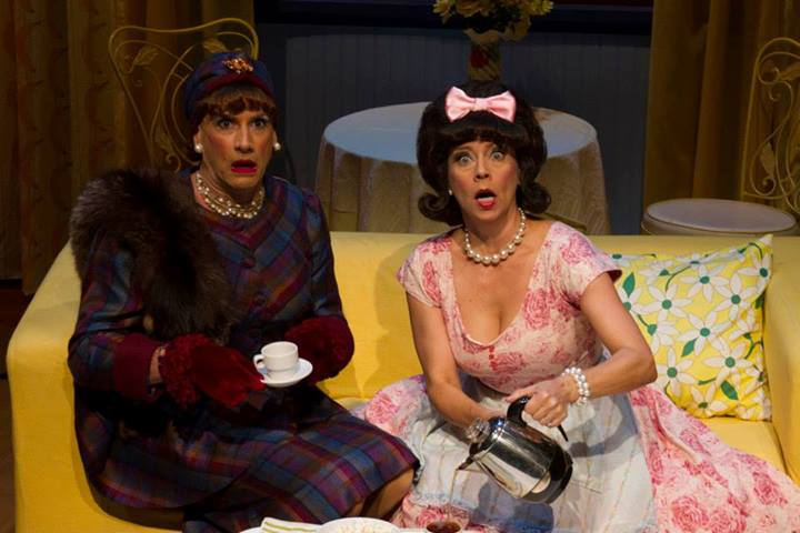 "Rusty Ferracane in drag as Sylvia St. Croix, Tina's manager; and Debby Rosenthal as Tina's mom in ""Ruthless the Musical."" (Photograph by Sara Chambers.)"