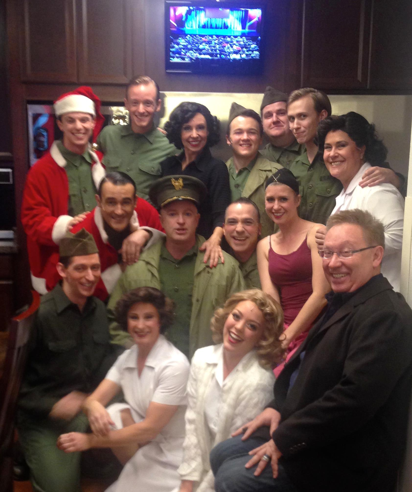 "Backstage at Phoenix Theatre's ""White Christmas."" Included in the photo are with Peter Marinaro, Jonathan Brian, Joseph Cannon, Darcy Rould- Welch, Sam Hay, Chris Eriksen, Lauren Devine, Terry Gadaire, Kenny Francoeur, Pete Good, Molly Lajoie Plutnicki, Logan Scott Mitchell, Johanna Carlisle and Michael Barnard. (Photo credit unknown)"