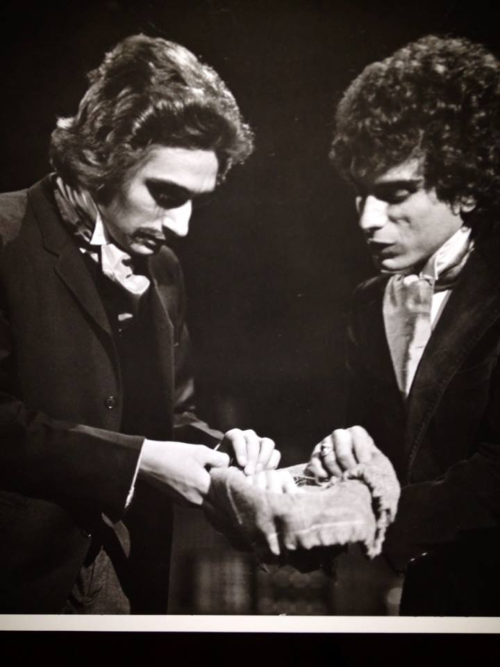 "Thomas Mastronardi as Dr. Frankenstein and Steven Mastroieni as Henry in the world premiere of ""Frankenstein"", 1975, at Stagebrush Theatre. (Photo from the collection of Steven Mastroieni)"