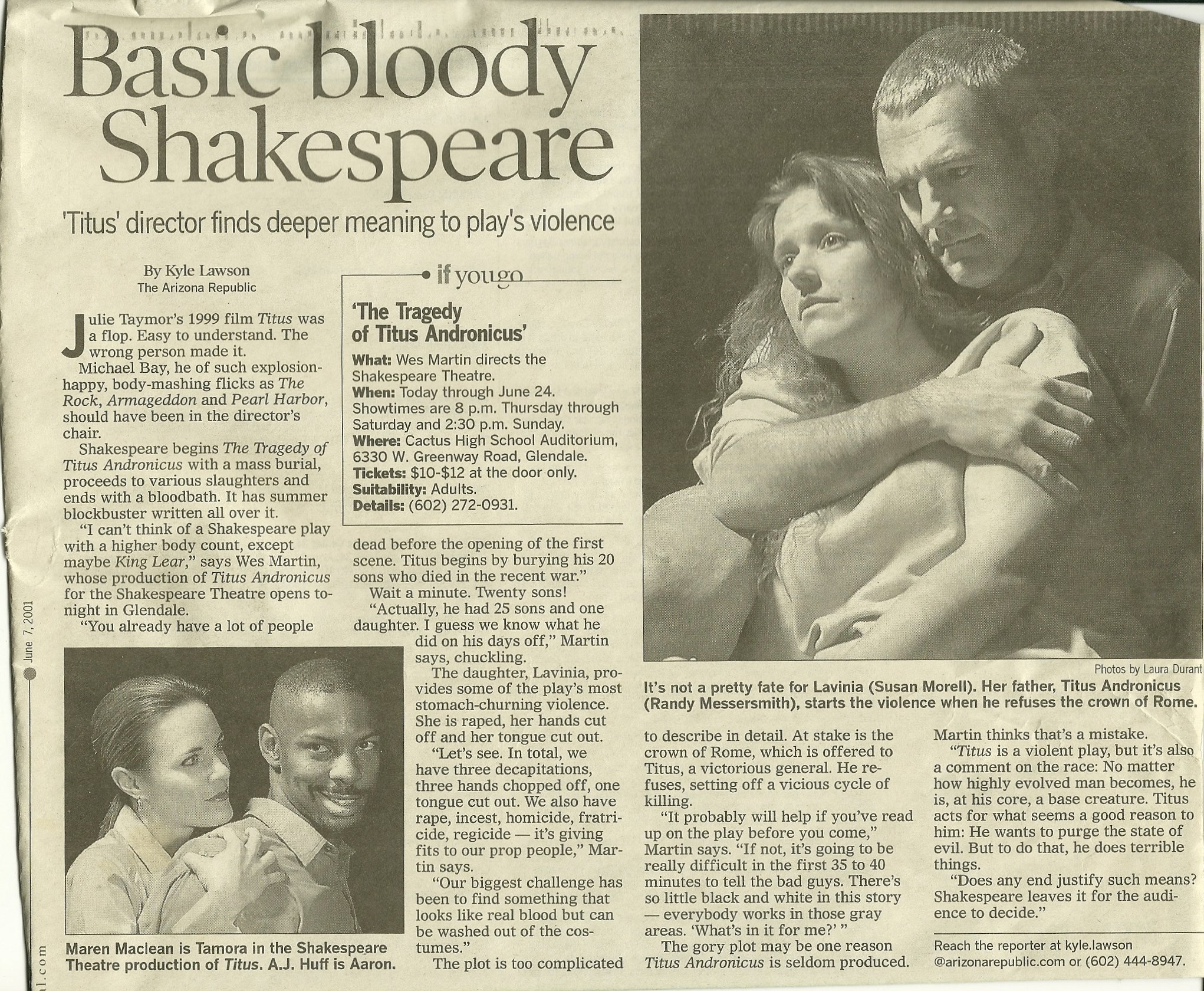 "The Shakespeare Theatre, ""Titus Adronicus,"" June, 2001. Photos by Laura Durant. Published in The Arizona Republic."