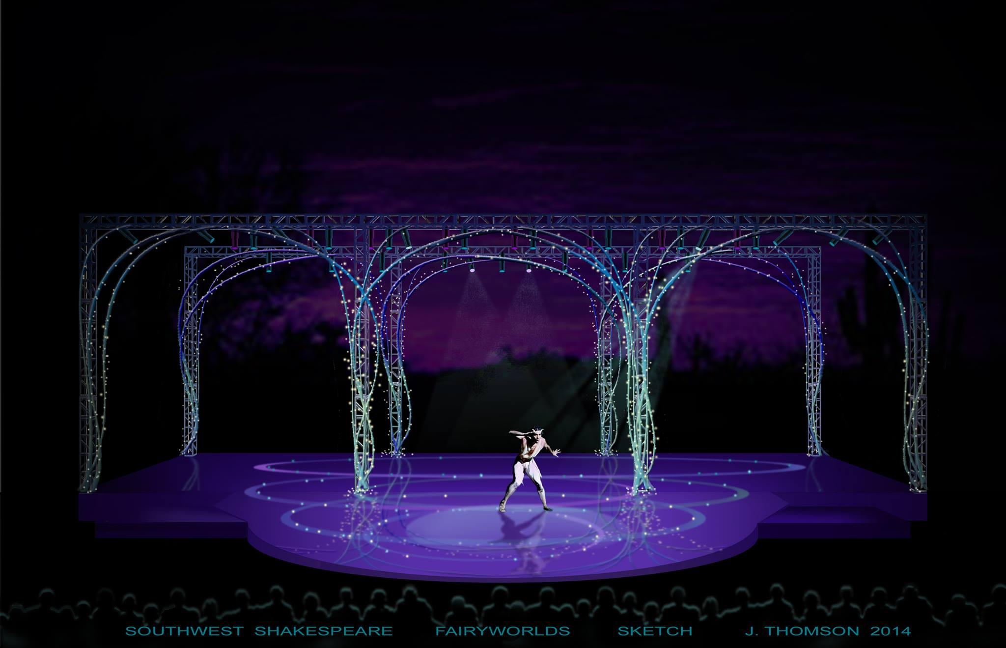 Southwest Shakespeare Company: A Midsummer Night's Dream Desert Botanical Garden May-June, 2014 Designer Jeff Thomson's sketch for the production.