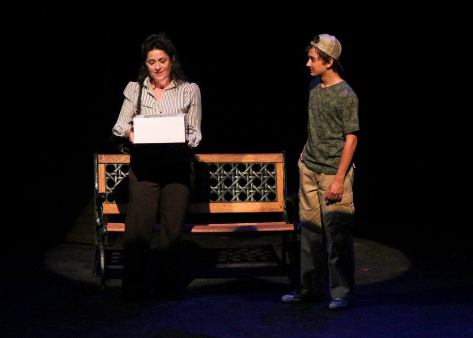 "Maria Amorocho and unidentified actor in ""Big"" at Theatre Works. (Photo credit unknown)"
