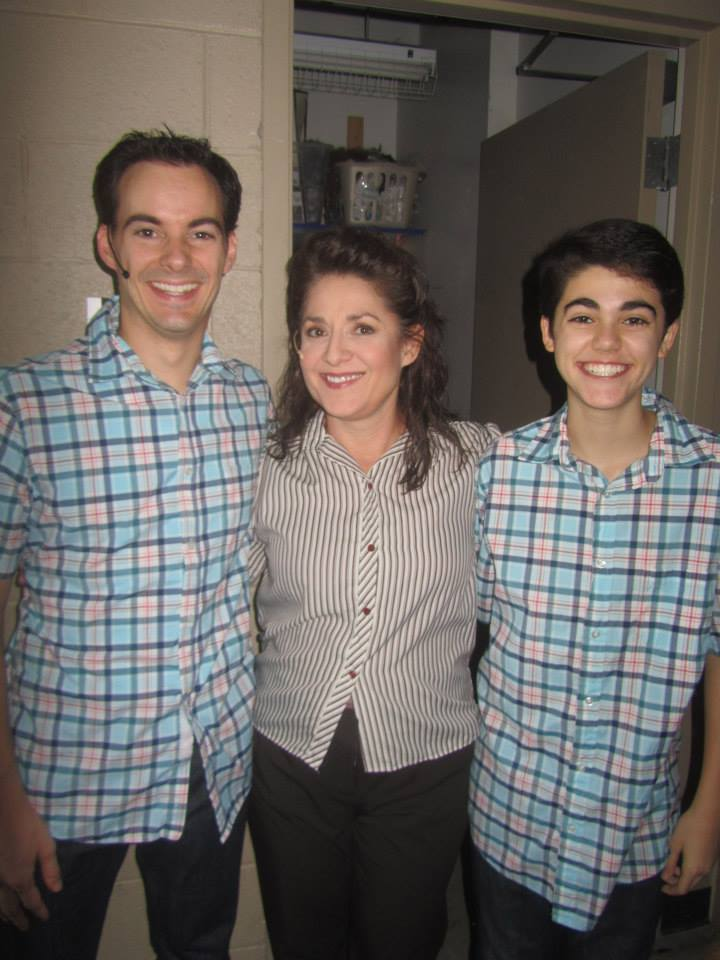 "Maria Amorocho poses backstage with Dennis J. Clark (left) and Aaron Zwieback, who played older and younger versions of her son in ""Big"" at Theater Works. (Photo by Brenda Goodenberger)"