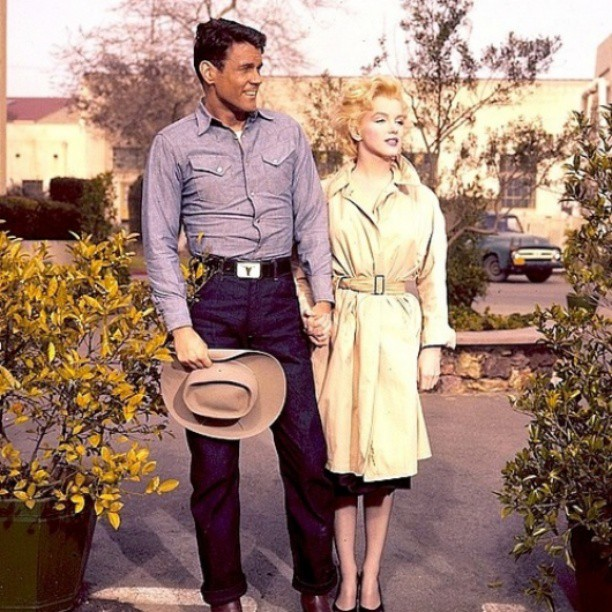 "William Inge's ""Bus Stop,"" starring Don Murray and Marilyn Monroe, was filmed in Phoenix. The couple posted for photographs outside their downtown Phoenix hotel."