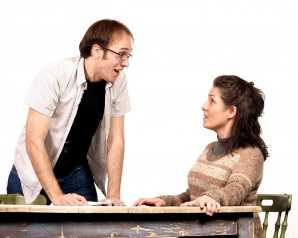 "Will Hightower and Maria Amorocho in ""Body Awareness"" at Actors Theatre. (Photo by John Groseclose)"