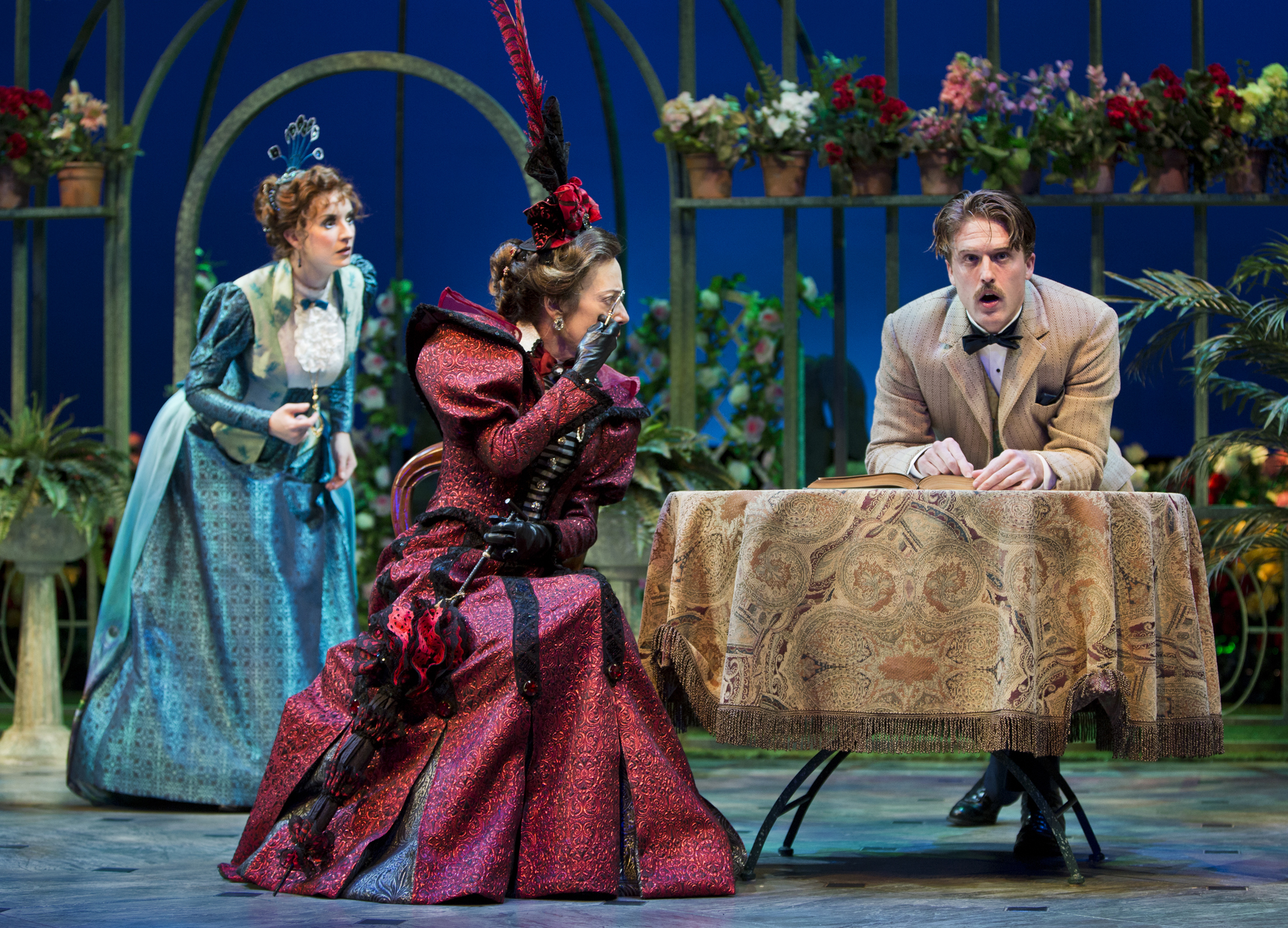 "Annelise van der Pol, Allyce Beasley and Loren Dunn in Arizona Theatre Company's ""The Importance of Being Earnest;"" photo by Tim Fuller."