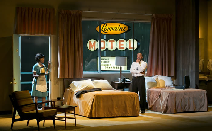 "Erika LaVonn and James T. Alfred in Arizona Theatre Company's ""The Mountaintop;"" photo by Tim Fuller."