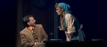 "Michael Kary and Angelica Howland in ""The 39 Steps."" (Photo by Sara Chambers)"