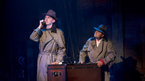 "Toby Yatso and Pasha Yamotahari in ""The 39 Steps,"" Phoenix Theatre's 2013 send-up of the Alfred Hitchcock movie. (Photo by Sara Chambers.)"