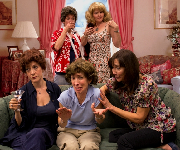 "Theater Works' 2012 production of ""The Dixie Swim Club"" co-starred (on couch) Debra Rich Gettleman, Susan Sindelar, Shari Watts (standing) Cathy Dresbach and Janine Smith. (Photo by Bo Allen)"