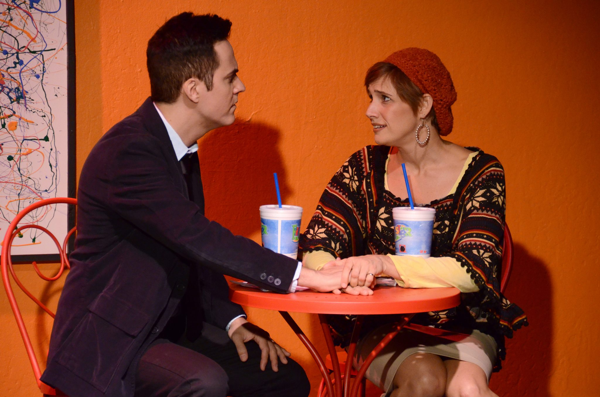 "Brian Weiss and Shana Rebilas Bousard in ""Becky Shaw"" at Theatre Artists Studio. (Photo by Mark Gluckman)"