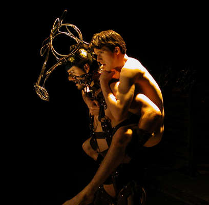 "Christopher Mascarelli (as the horse Nugget) and Daniel Sykes (as Alan) in Nearly Naked Theatre's criticaly acclaimed production of ""Equus."" Photo by Laura Durant."