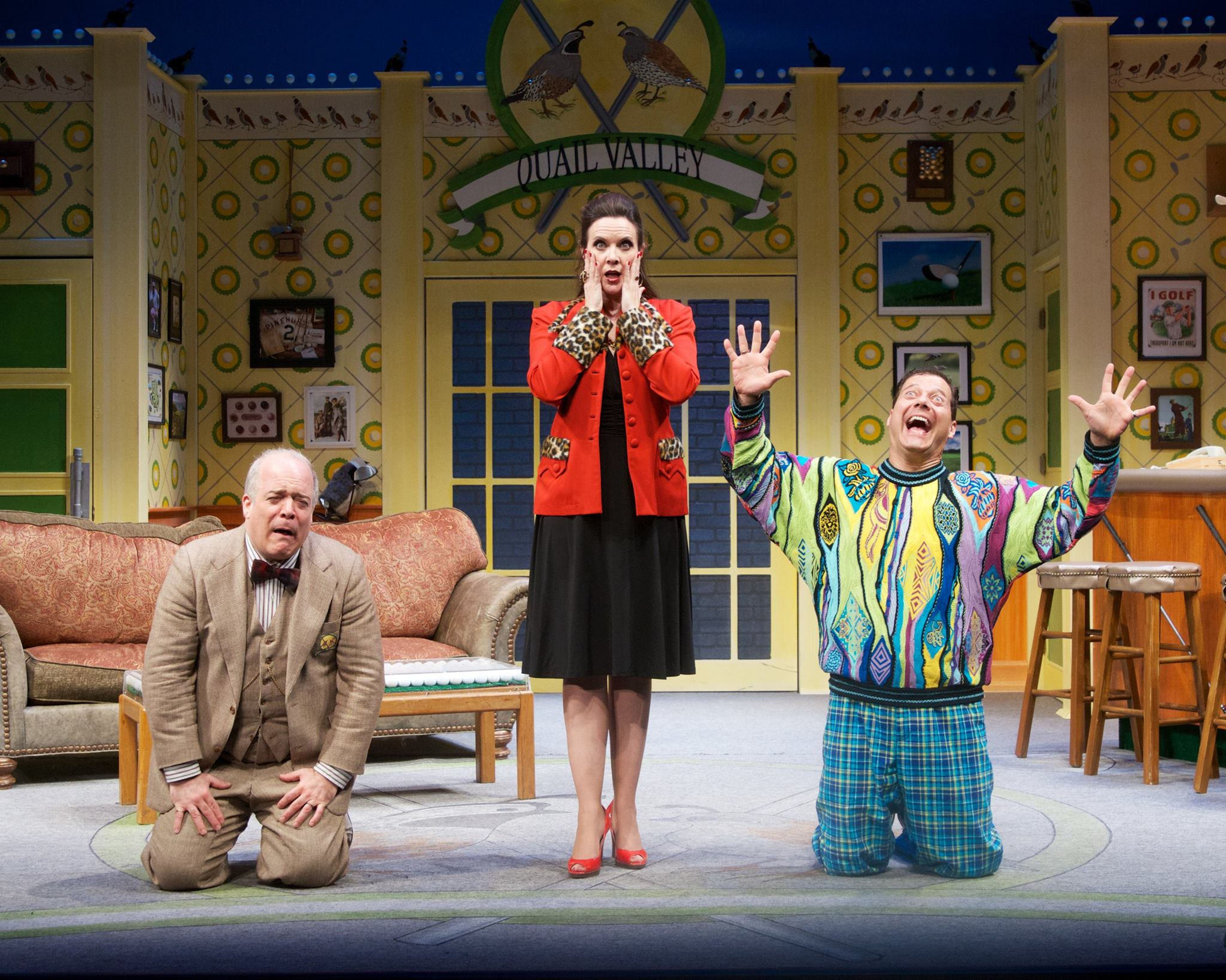 "Maren Maclean is flanked by Ted Barton (left) and Gene Ganssle (right) in ""The Fox on the Fairway"" at Actors Theatre, 2013. (Photo by John Groseclose)"
