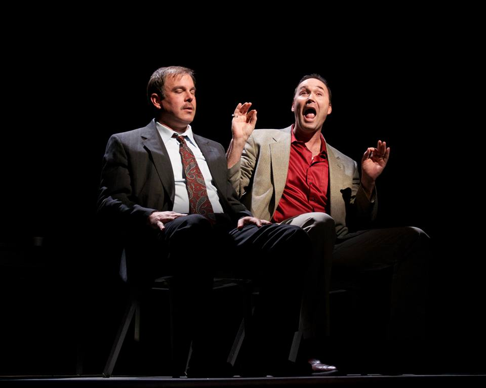 "Christopher Haines and Joseph Kremer in the 2014 production of ""A Steady Rain"" at Actors Theatre. (Photo by John Grossclose)"