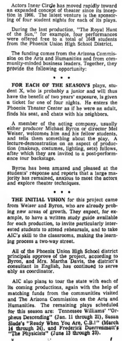 Bina Breitner's On Stage column, Arizona Republic, Nov. 5, 1967