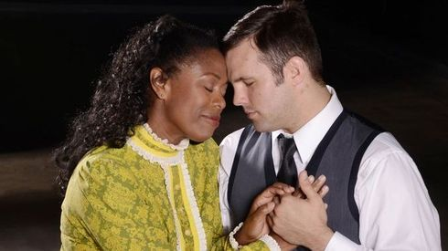 Lillie Richardson (left) and Chad Krolczyk star in the Black Theatre Troupe production 'Wedding Band.'