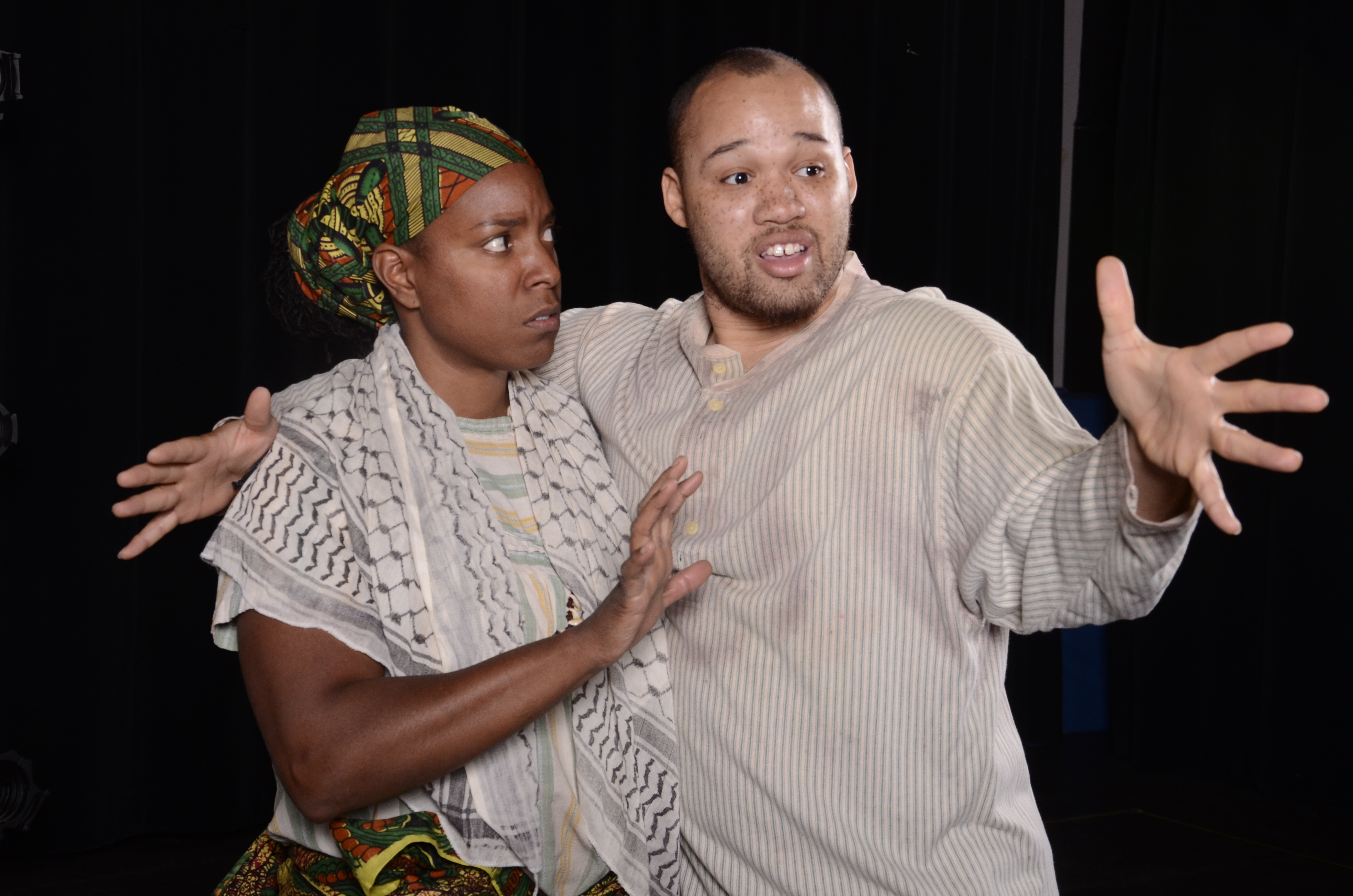 "Shanique Scott and Jeremy Gillett in Black Theatre Troupe's 2014 production of ""Boesman and Lena."" (Photo by Laura Durant)"