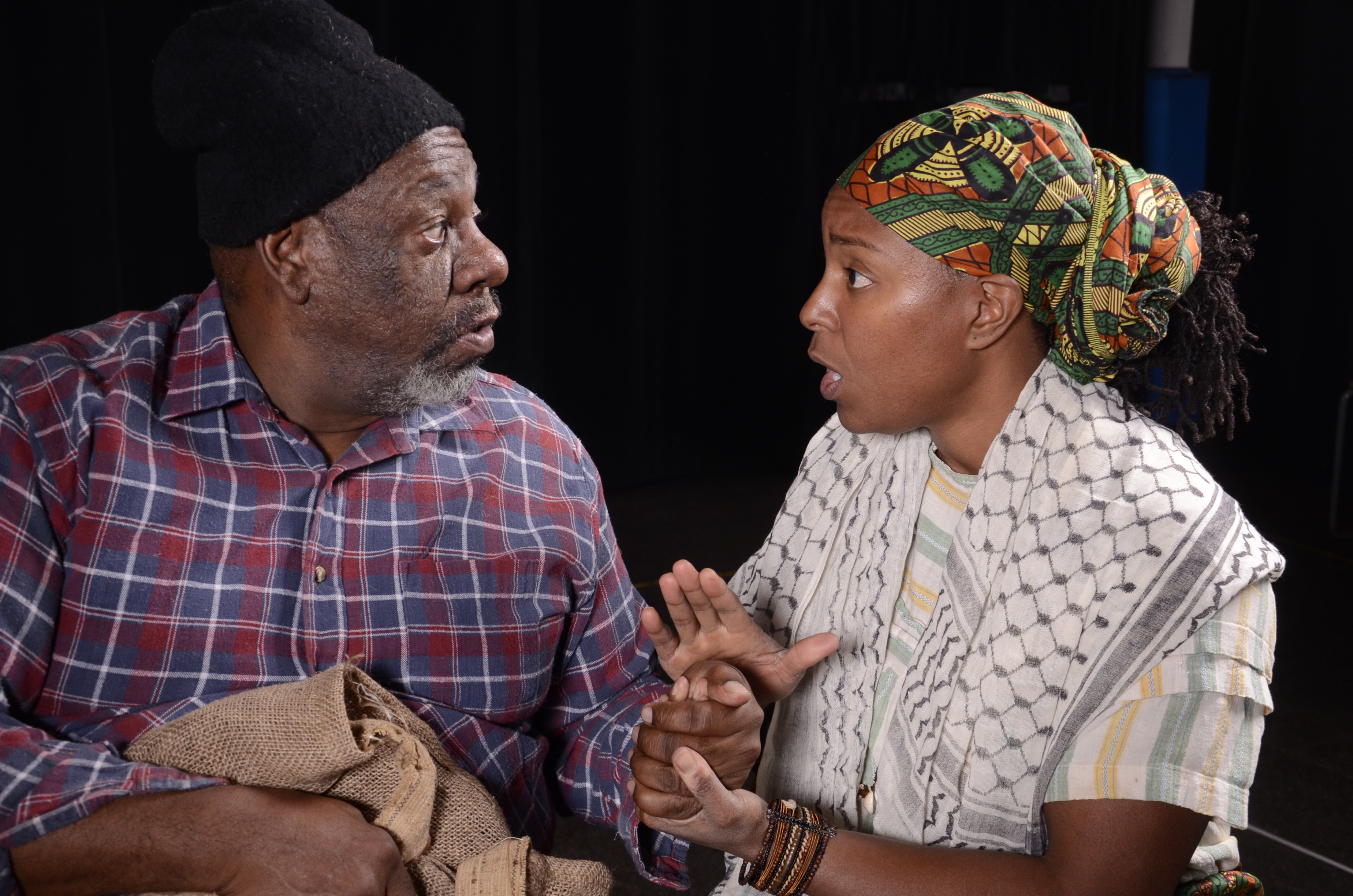 "Rod Ambrose is the Old African and Shanique Sabrina Scott is Lena in BTT's ""Boesman & Lena."" (Photo by Laura Durant)"