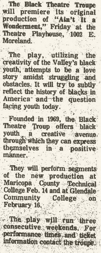 Black Theatre Troupe January 1977
