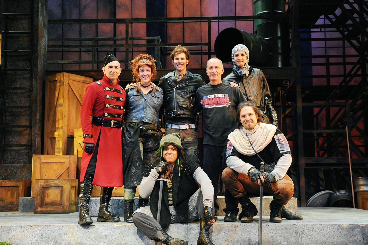 David Barker poses with the cast of Childsplay's ''Robin Hood.'' Directed by Dwayne Hartford, costumes by Connie Furr-Soloman, Lights by Tim Monson , Sound by Chris Neumeyer, wigs by Katie Peck, Set by Aaron Jackson and stage management by Samantha Monson. — with Jon Gentry, Kate Haas, Ricky Araiza, Andy Cahoon, Eric P. Boudreaux and Keath Hall. (Photo by Tim Trumble)