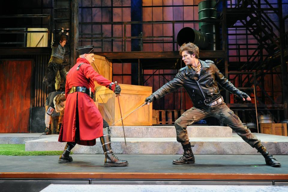 "Jon Gentry and Andy Cahoon swash and buckle in Childsplay's 2013 production of ""Robin Hood."" (Photography by Tim Trumble)"