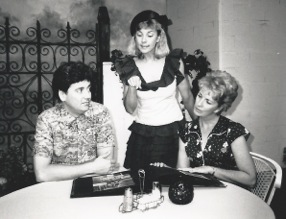 "Ben Tyler, Cathy Dresbach and Jacqueline Gaston in the August 1988 production of ""Wally's Cafe"" at CopperState Dinner Theatre.  (Photo credit unknown)"