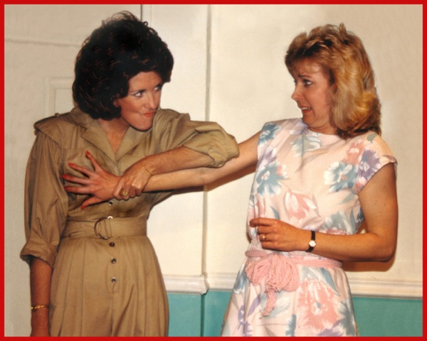 "Jacqueline Gaston and Cathy Dresbach in ""The Odd Couple (Female Version) at CopperState Dinner Theatre, January 1990. (Photo from the collection of Jacqueline Gaston)"