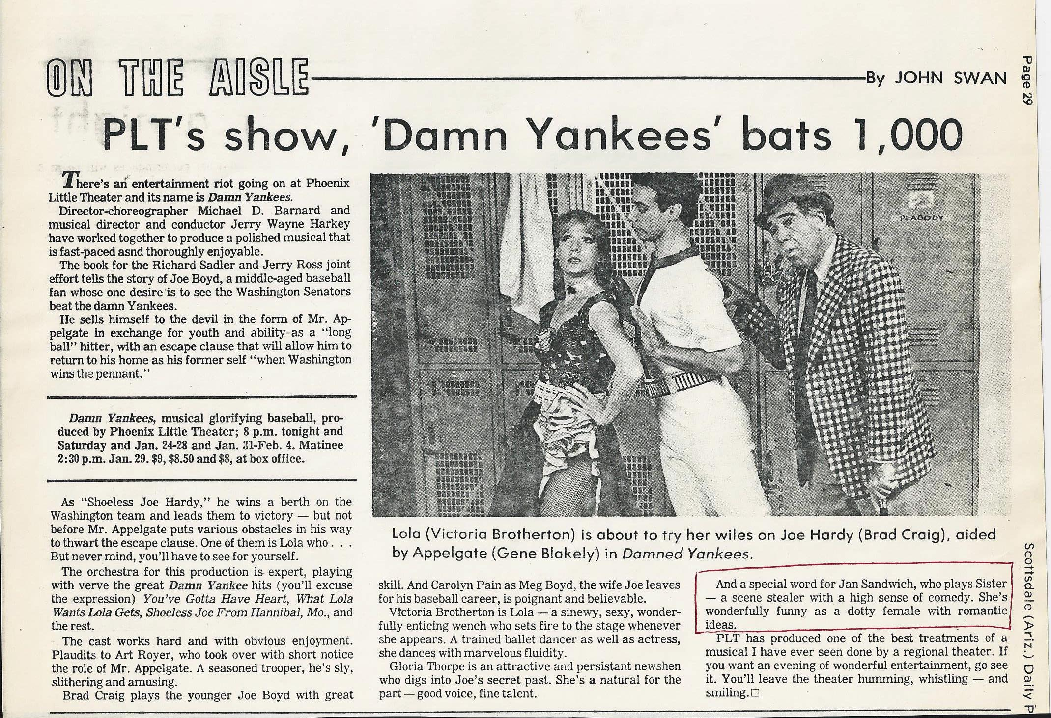 """Damn Yankees"" was produced at Phoenix Little Theatre sometime in the 1970s or '80s. Clipping from the collection of Jan Sandwich."