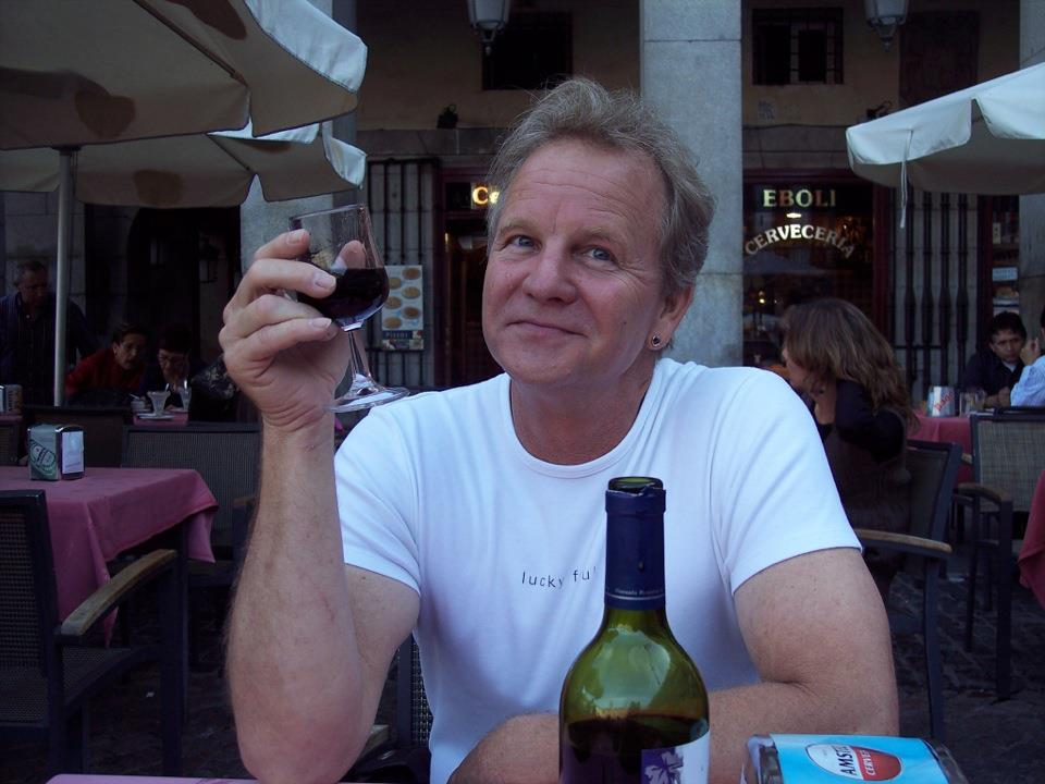 David enjoying some wine while visiting Madrid, Spain. (Photo from the David Weiss Collection)