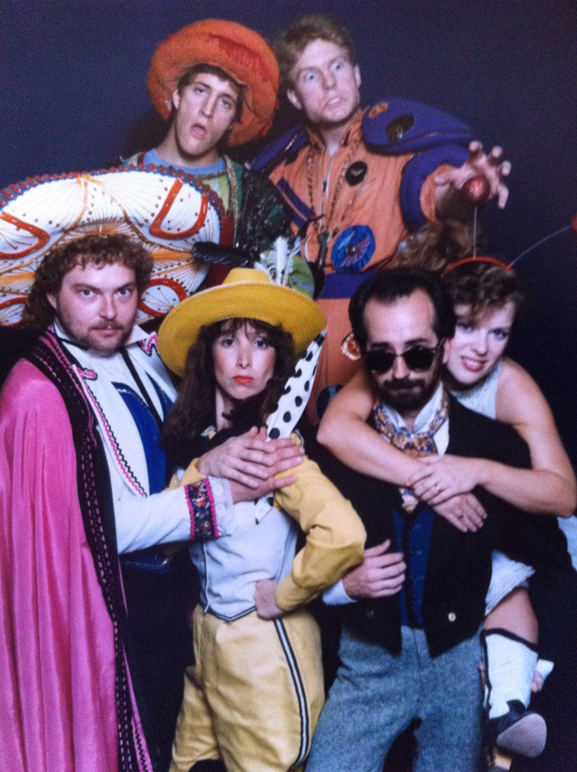 "Susan Sindelar (in yellow) and company in Childsplay's ""Montana Molly and the Peppermint Kid."" (Photograph courtesy of Susan Sindelar.) Childsplay. Early 1990s. ""Montana Molly & the Peppermint Kid."" Front Row: Scott Pegg, Susan Sindelar, Jon Gentry, Debra K. Stevens. Back Row: Unidentified. (Photograph courtesy of Susan Sindelar.)"