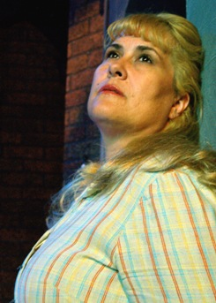 "Johanna Carlisle as Mrs. Johnstone in Nearly Naked Theatre's 2009 mounting of ""Blood Brothers."" (Photo by CJ Mascarelli)"